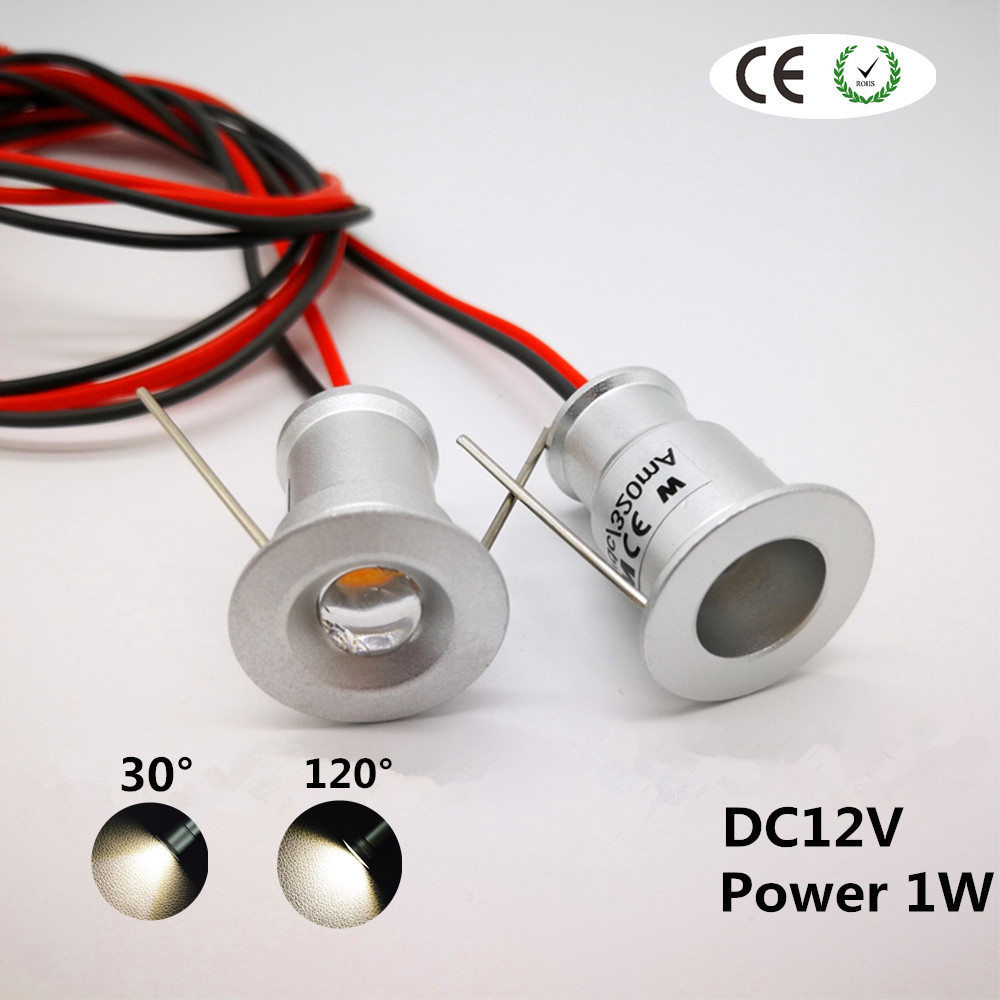 1W LED Mini Downlight Ceiling 15mm Cutout Recessed Bedroom Kitchen Spot Light DC12V Spot Lighting 30D/120D Wine Cabinet Lamp CE