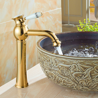 Continental Gold Faucet Hot And Cold Faucet Full Copper Bathroom Vanities Gilded Antique Blue And White