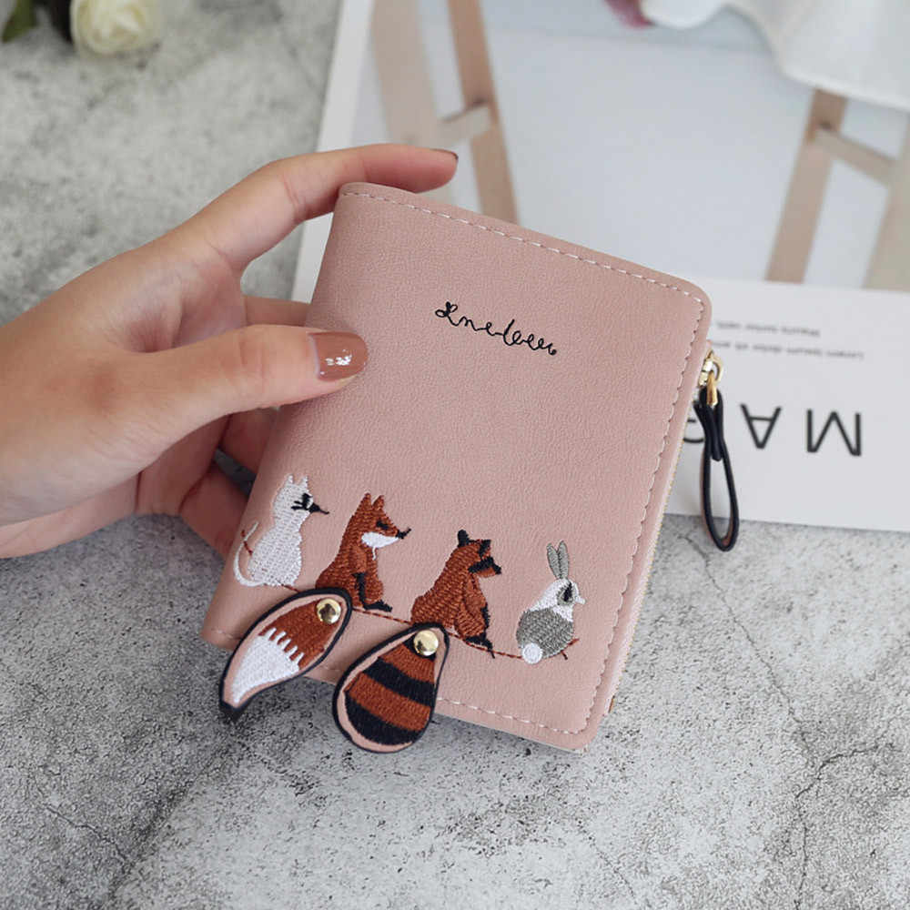 Cartera de moda para mujer adorable animales de dibujos animados de cuero corto femenino pequeño cerrojo monedero cremallera bolso para niños tarjetero para niñas