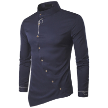 Men fashion Embroidery Shirt Personality Oblique Button Irregular Arrival leisure solid Long Sleeved Casual Shirts European size