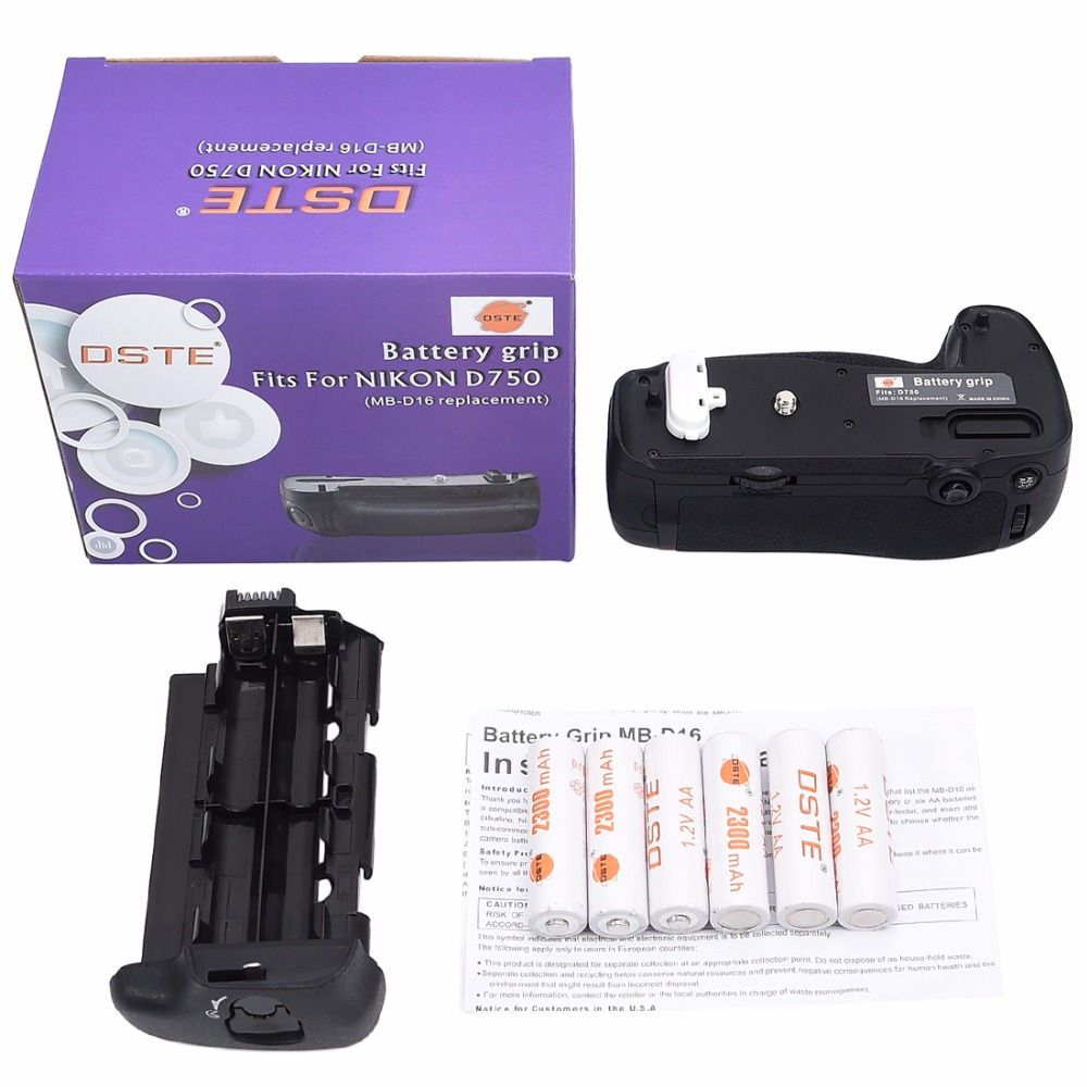 DSTE MB-D16 Battery Grip with 6pcs Rechargeable Batteries NI-MH AA Battery for Nikon D750 DSLR Camera dste 3pcs sl 360 ni mh battery for spectralink pts360 9031 mdw9030p mdw9031 ptb400 ptb710 ptb810 ptb81650