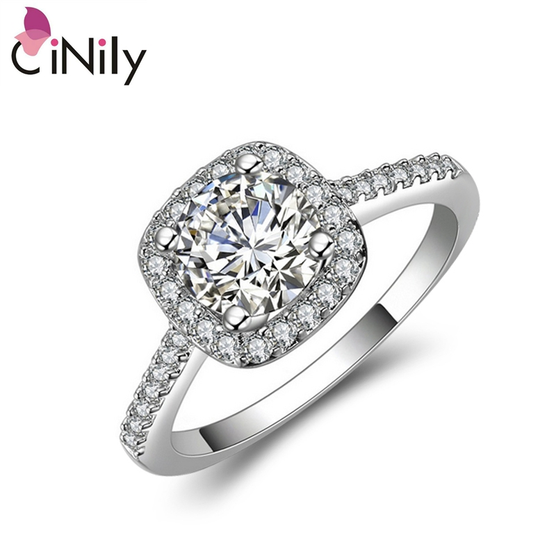 Cinily Jewelry Ring-Size Rose-Gold-Color Birthday-Engagement Silver Cubic-Zirconia Women