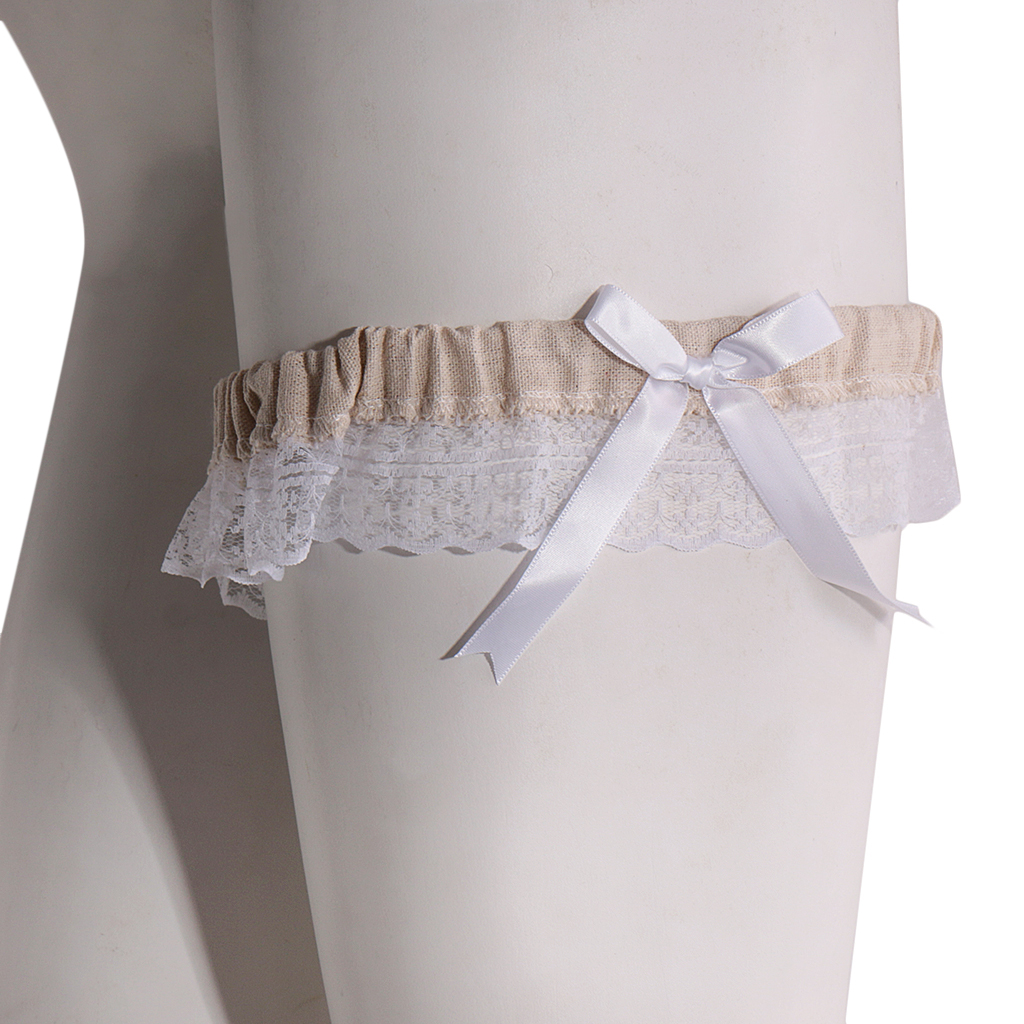 Wedding Leg Garter: Hot Wedding Bridal Elastic Burlap Lace Flower Leg Garter