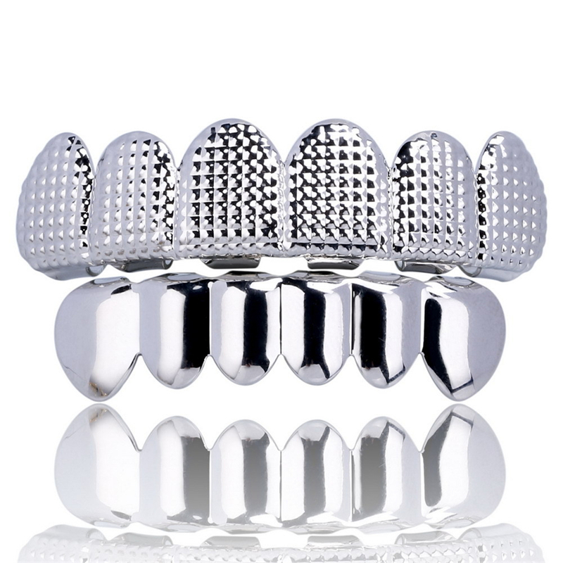Hip Hop Men 39 s 6 Top amp Bottom Teeth Gold Silver Color False Teeth Grillz Set Bump Lattice Dental Grills For Unisex Body Jewelry in Body Jewelry from Jewelry amp Accessories