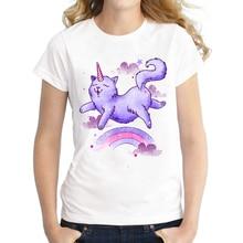 2016 New Arrivals Women Fashion T shirt Short Sleeve Cat font b Unicorn b font Printed