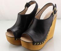 Босоножки на толстой танкетке, женская летняя обувь 2019, новые кожаные туфли с открытым носком на очень высоком каблуке, модная обувь на плат