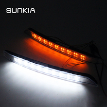 Sunkia led luz de circulação diurna para kia k3 2012 2015 drl com luzes de giro do sinal luzes do dia lâmpadas luzes do carro conjunto
