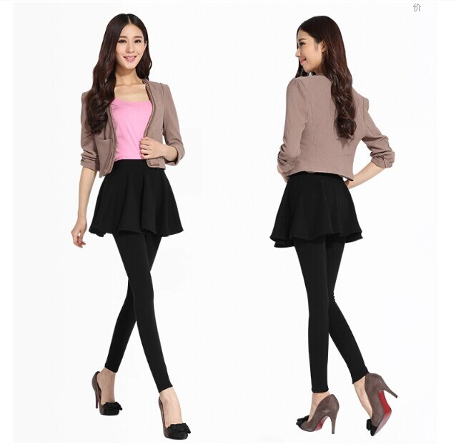 2592e0d6d Plus cashmere Winter Warm Leggings womens winter clothes Pleated Mini Skirt  Leggings Free Shipping