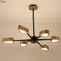Modern Designer Triangle Led Pendant Chandelier Lighting Lustre Copper Dining Room Led Chandeliers Bedroom Led Hanging