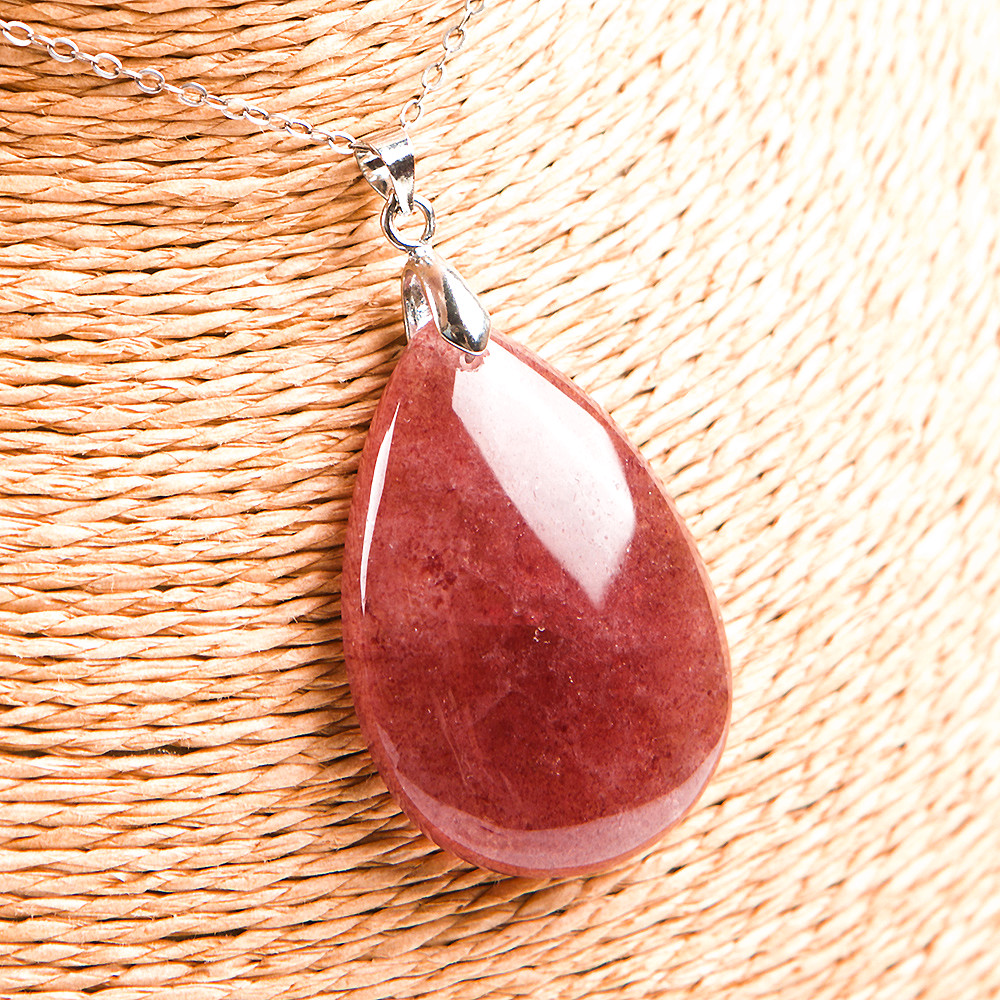 Genuine Natural Red Ice Strawberry Quartz 37x17x8mm Crystal Water Drop Pendant Woman Lady Gift Best Quality From Russia AAAAA