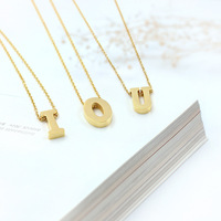 Hot Sale A Z 26pcs Letters White Gold Yellow Gold Rose Gold Plated Titanium Steel Necklace