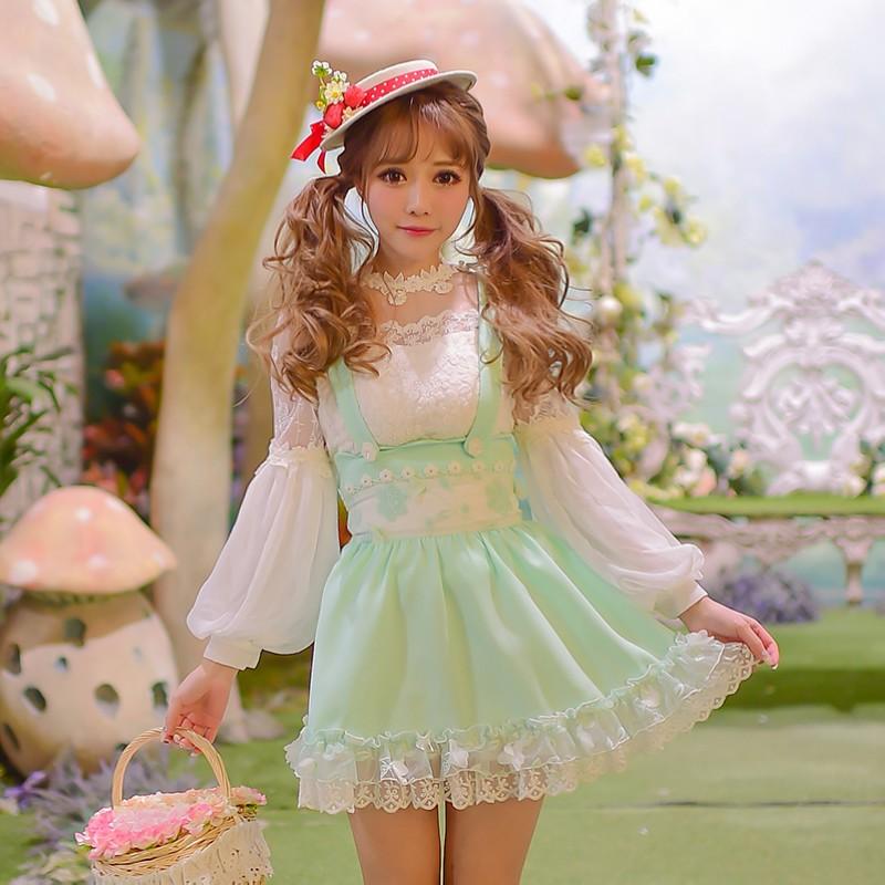 Princesse douce lolita chemise bonbon pluie original printemps Couture douce princesse lanterne manches en mousseline de soie à manches longues C16AB6007