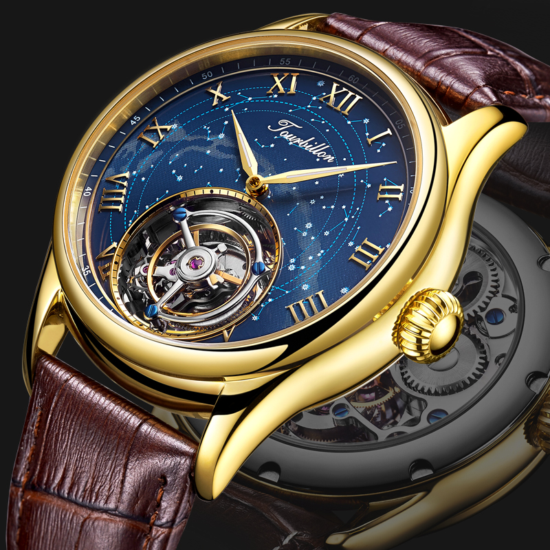 Original Tourbillon Men Watch Star Sky Style High Quality Tourbillon Hollow Movement 24K Vacuum Plating Men's Mechanical Watches original tourbillon men watch star sky style high quality tourbillon hollow movement 24k vacuum plating men s mechanical watches