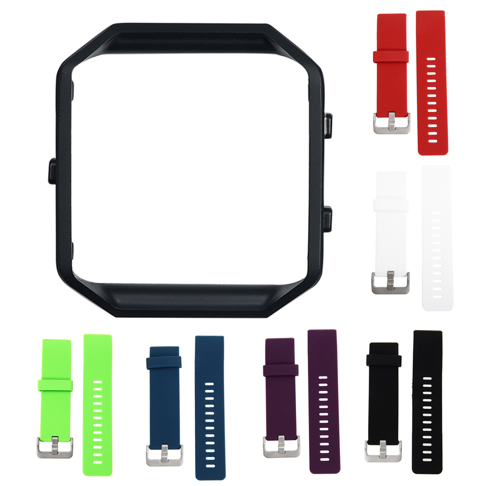 22cm Stainless Steel Black Frame+Soft Silicone/Rubber Wrist Watch Band Replace Sport Strap For Fitbit Blaze Smart Watch New new 2017 stainless steel watch band wrist strap for fitbit alta smart watch high quality 0428