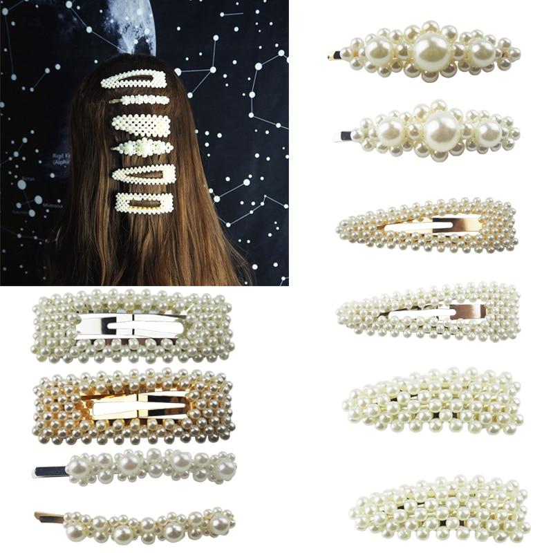 Star Big Pearl Hair Clip Alloy BB Fashionable Hairgrip Womens   Headwear   Multi-style Patterns Princess Hairpins Girl Accessories
