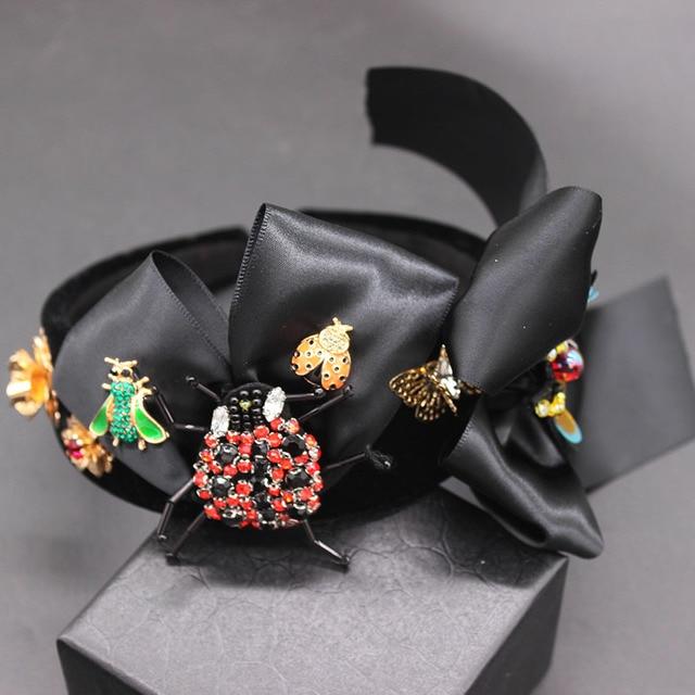 New Baroque exaggerated wild headband  beetle bee bow hair accessories fashion ball wild headband 594