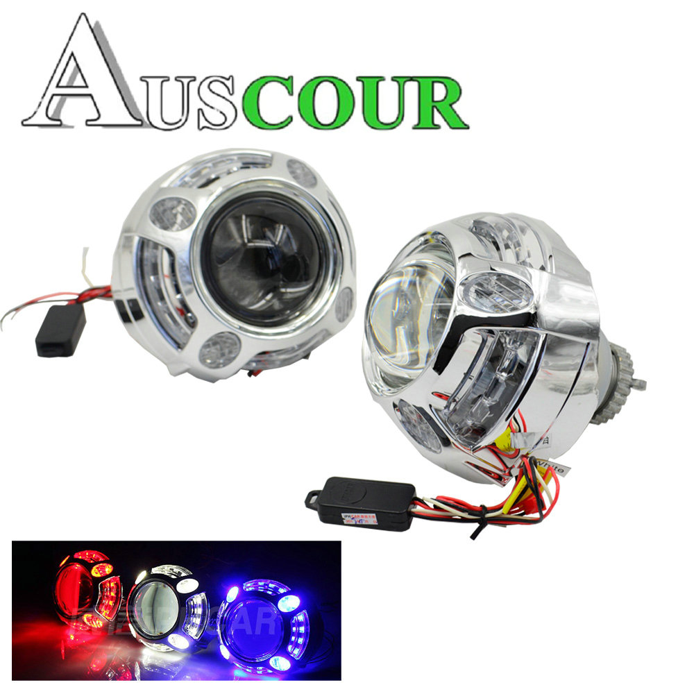 3.0 inch hid Projector lens led day running angel eyes car Bi xenon hid xenon kit metal H1 H4 H7 hid projector lens royalin car styling hid h1 bi xenon headlight projector lens 3 0 inch full metal w 360 devil eyes red blue for h4 h7 auto light
