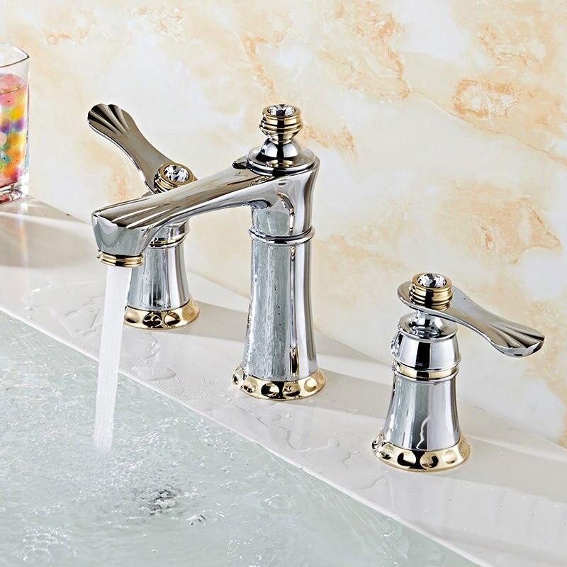 Robinet 3 trous tout cuivre, lavabo chaud et froid double fente tête de dragon avec robinet de lavabo trois pièces doré