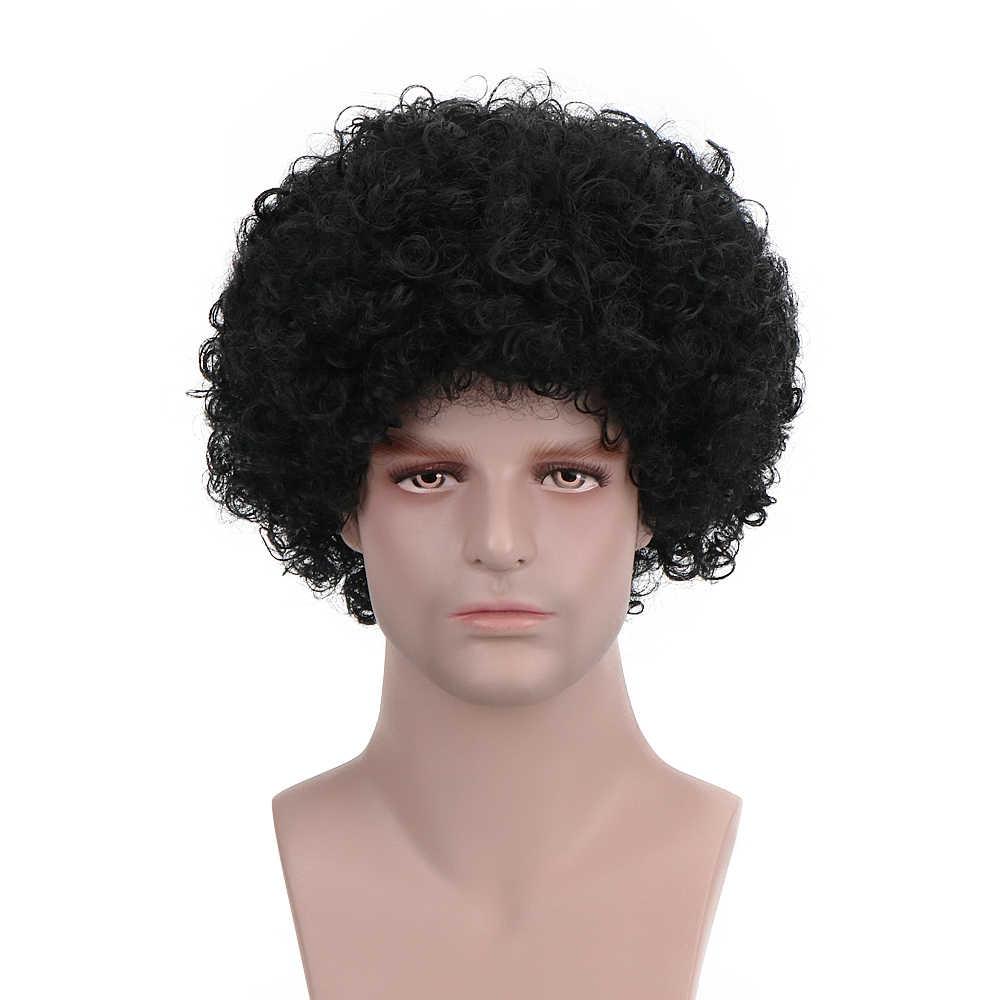 """Peruca de palhaço, livre beleza 10 """"curta fantasia preta de palhaço sintética afro 70s 80s disco fofo retrô hippie para festa de natal dia das bruxas"""