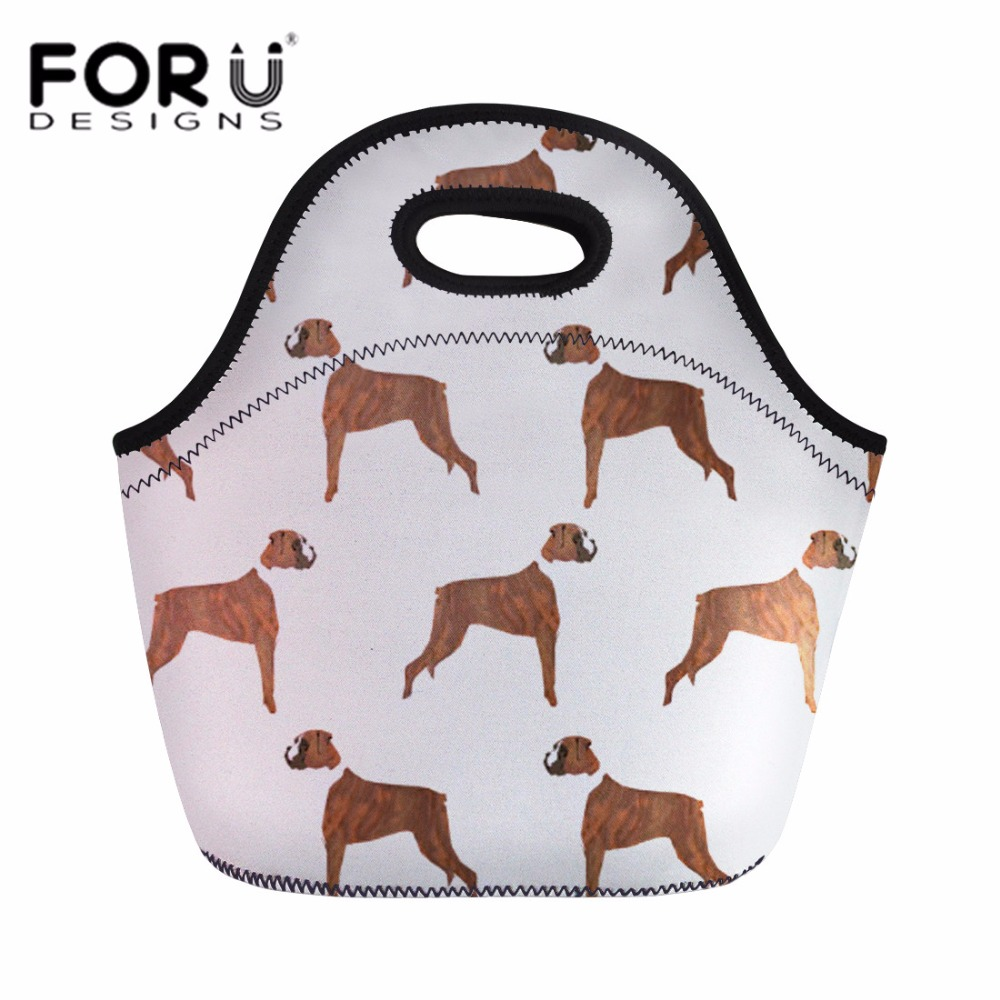 FORUDESIGNS Lunch Bag for Kids Girls Boxer Dog Handle Bags Women Lunch Tote Insulated Thermal Storage Neoprene Food Box Bolsa image