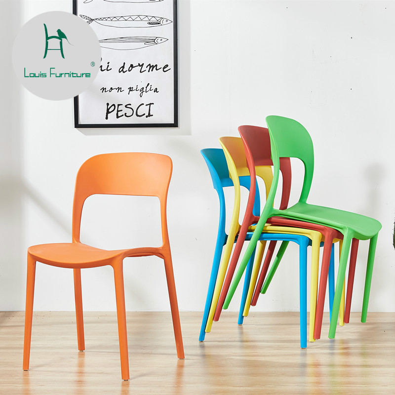 Simple Minimalist Dining Set: Louis Fashion Dining Chairs Four Pieces Modern Living Room