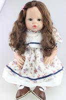 70 cm silicone reborn baby dolls Reborn Toddler Baby Girl doll gift long hair 28 Silicone Vinyl Lifelike clothing model doll