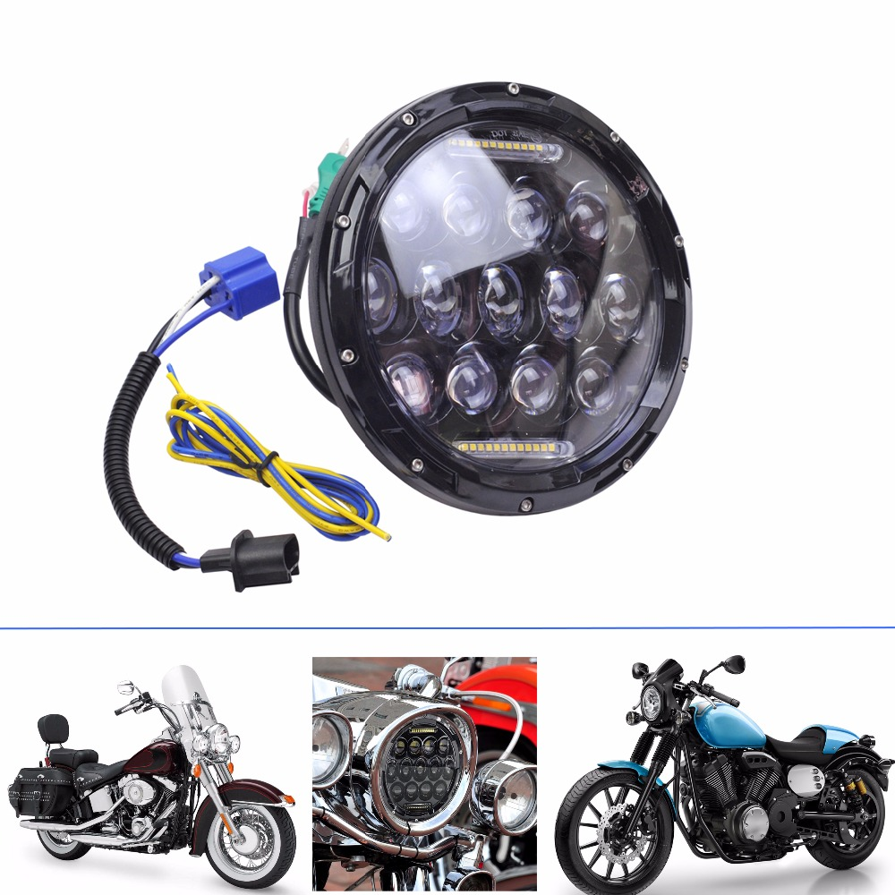 1 x 75W 12V 7'' Led Headlight H4 H13 High Low Beam Round Cars Running Light for Jeep Harley Davidson Yamaha Road Star motorcycle 2 pcs led headlight led offroad lights 7inch 40w 30w high low beam for harley davidson motorcycle jeep suv
