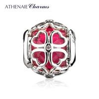 ATHENAIE 925 Sterling Silver Cerise CZ Encased in Lucky Clover Charms Beads Valentine's Day Gift For Women