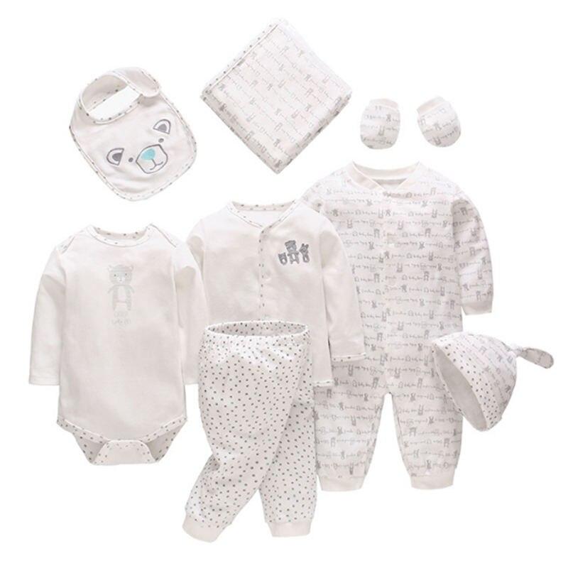 8 pièces/ensemble nouveau-né bébé vêtements ensemble 100% coton bébé barboteuses chapeau bavoir couverture doux pour nouveau bébé filles vêtements bébé garçons costumes