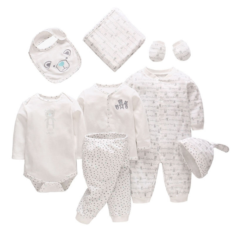 8pcs/Set Newborns Baby Clothes Set 100% Cotton Baby Rompers Hat Bib Blanket Soft For Newnorn Baby Girls Clothing Baby Boys Suits