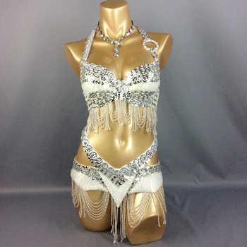 Hot design handmade beaded belly dance costume wear Bar+Belt 2piece/ set ,7 color ladies belly dance costumes women dancing wear