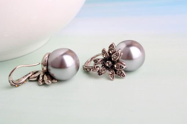 New Fashion Luxury Vintage Sun Flower Pearl Drop Earrings For Women Fine Jewelry Accessory Brincos High Quality XY-E144 5