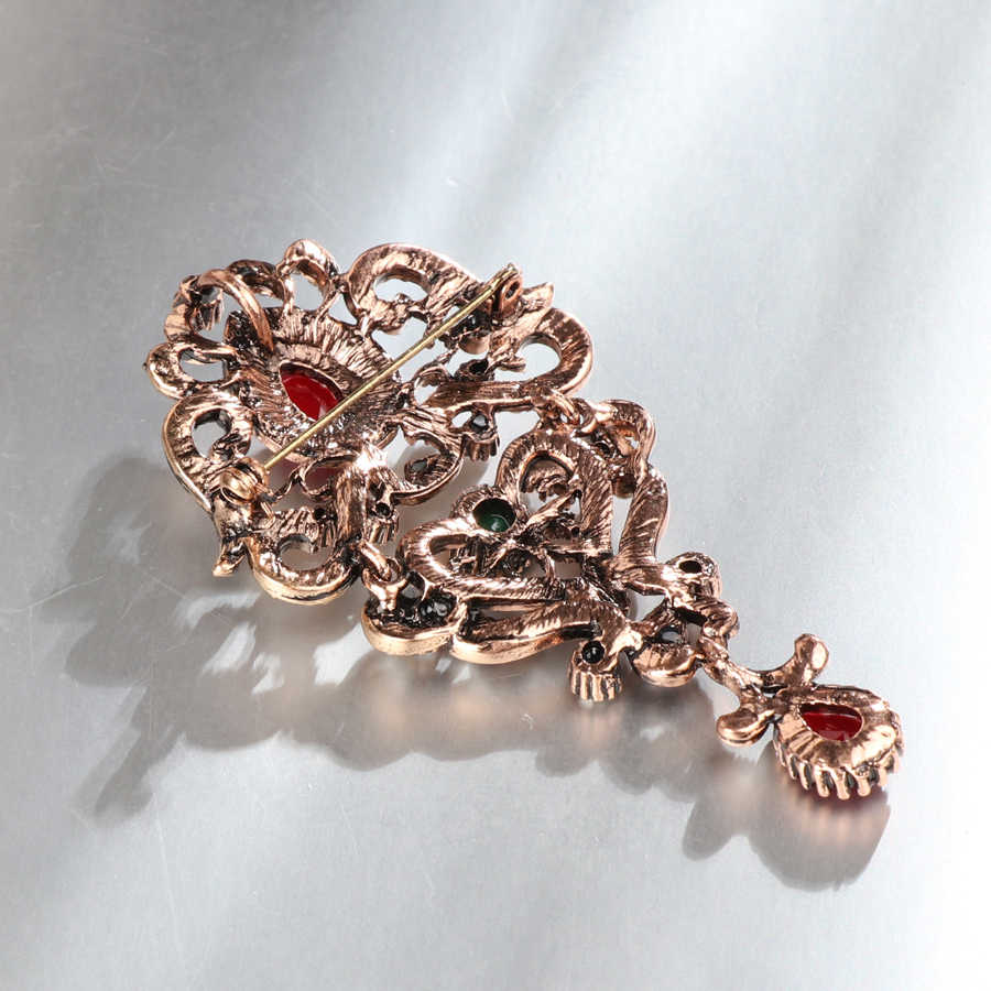 ... Kinel Bohemia Crystal Flower Brooch Antique Gold Women Suits Dress Hat  Collar Brooch Pins Scarf Buckle a835f05f160c