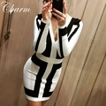 2016 Fashion Black And White Patchwork Bandage Dress Long Sleeve Winter Dress Sexy Deep V Neck Women Evening Party Dresses