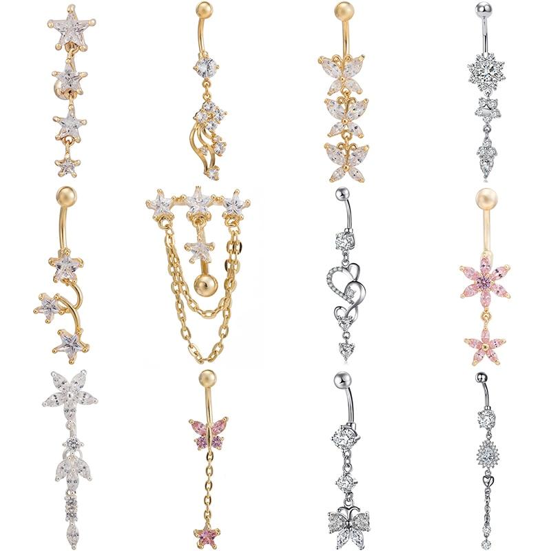 Jewelry Piercing Tassel-Petal Belly-Button Pendant-Body Gift Surgical Steel Sexy Women