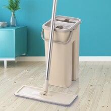 Platte Squeeze Mop En Emmer Hand Gratis Wringen Floor Cleaning Mop Microfiber Mop Pads Nat Of Droog Gebruik Op Hardhout laminaat Tegel