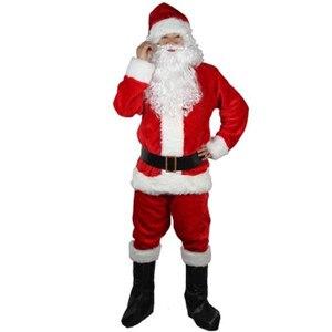 Image 2 - Adult Santa Claus Costume Suit Plush Father Fancy Clothes Xmas Cosplay Props Men Coat Pants Beard Belt Hat Christmas Set