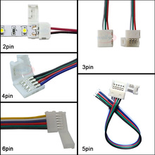 100pcs led connector wire 2pin 3pin 4pin 5pin 6pin Cable For WS2811 WS2812B 5050  RGB RGBW LED strip Light