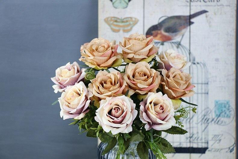 roses artificial flower bouquet wedding home decor (31)