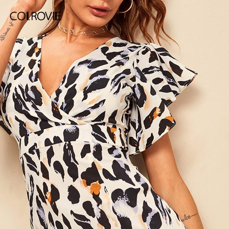 COLROVIE Deep V Neck Ruffle Hem Leopard Print Surplice Front Dress Women 2019 Summer Boho Cap Sleeve High Waist Short Dresses