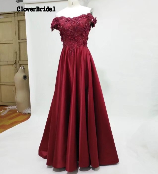 CloverBridal High Quality 3D lace appliques off-the-shoulder Satin Burgundy   Prom     Dresses   2017 Long Zipper Buttons Back vestidos