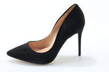 Hot Selling Women Cheap Pointed Toe Black Suede Leather Pumps Classical Style Formal Dress High Heels 10cm 12cm Heel Shoes(China)