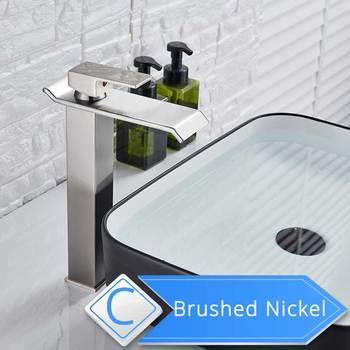 Brushed Nickel Waterfall Basin Faucet Single Lever Bathroom Vessel Sink Tap Deck Mounted Brass Lavatory sink Mixer Basin Tap 9