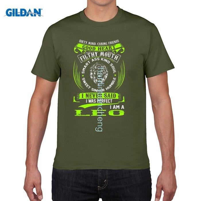 Возьмите DIY Стиль мужские футболки футболка смешные Лев Знаки зодиака смешные цитаты никогда не идеально с буквенным принтом Футболка