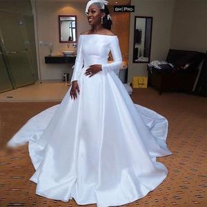 Image 1 - Kapalı omuz afrika düğün elbisesi uzun kollu beyaz gelinlikler prenses A line vestidos de novia gelinlikler yeni