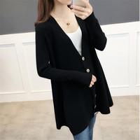 Knitted Long Cardigan Women Sweater 2019 Autumn Winter Women V Neck Single Breasted Sweater Fashion Black Cardigans For Female