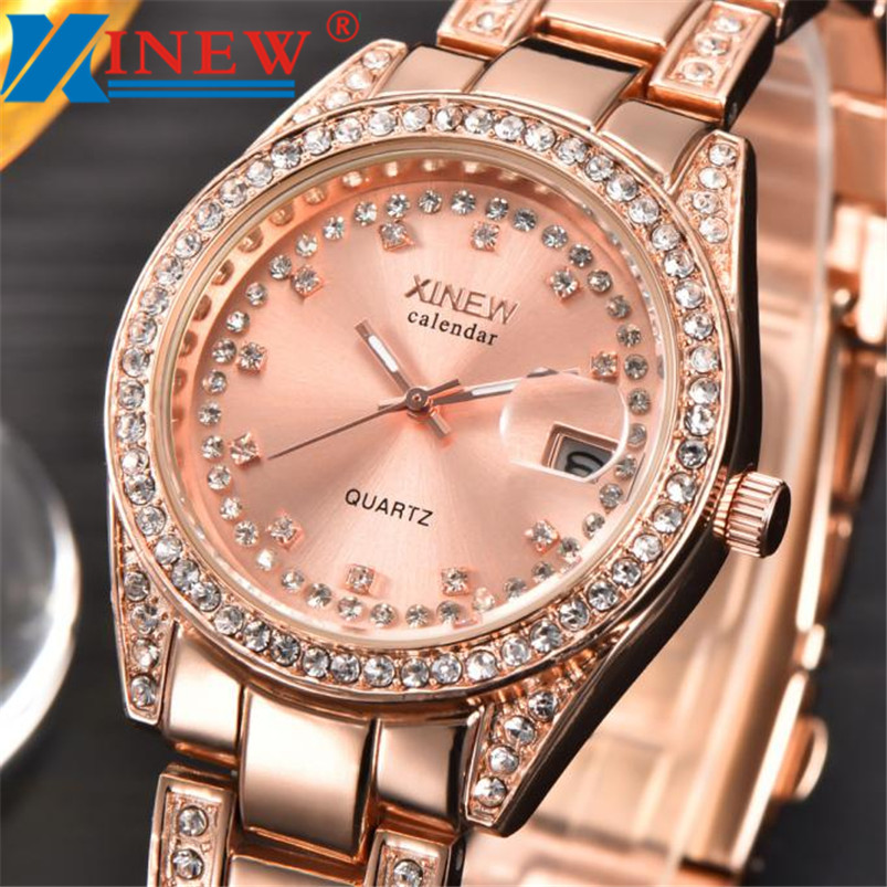 XINEW Women Watches Girl fashion Stainless Steel Ladies Watch Famous Brand Rose Gold Watch Female Hour Relogio Feminino Feida tshing ray fashion women rose gold mirror cat eye sunglasses ladies twin beams brand designer cateye sun glasses for female male