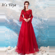 It's YiiYa Prom Gowns Red O-neck Three Quarter Sleeves A-Line Floor Length Beading Custom Plus Size Prom Dresses 2019 E271