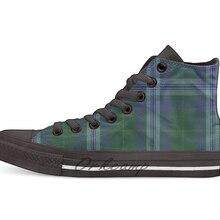 Jones of Wales Clan family Tartan; Новинка; дизайнерская Повседневная парусиновая обувь; обувь на заказ; Прямая