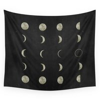 COCOHouse Moon Phases Black White Decor Bohemian Magic Lunar Cycle Wall Tapestry